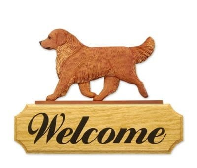 Dog Signs: Golden Retriever Dog Welcome Sign