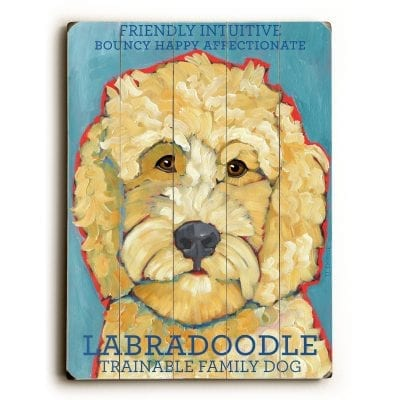 Labradoodle - Dog Signs of Dog Breeds. Dog Prints on Wood. Gifts for Dog Lovers.