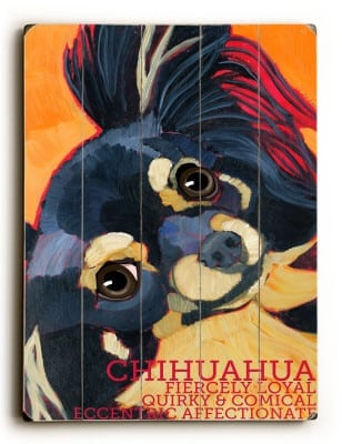 Long Haired Chihuahua - Dog Signs of Dog Breeds. Dog Prints on Wood. Gifts for Dog Lovers.