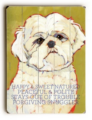 Maltese: Dog Signs of Dog Breeds. Dog Art Print on Wood. Gifts for Dog Lovers.