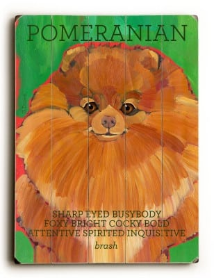 Pomeranian: Dog Signs of Dog Breeds. Dog Art Print on Wood. Gifts for Dog Lovers.