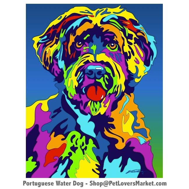 Portuguese Water Dog Pictures for Sale. Portuguese Water Dog art by Michael Vistia.