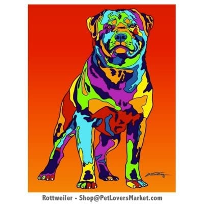Rottweiler Art. Rottweiler painting by Michael Vistia.