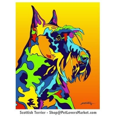 Scottish Terrier art. Scottish Terrier painting by Michael Visitia.