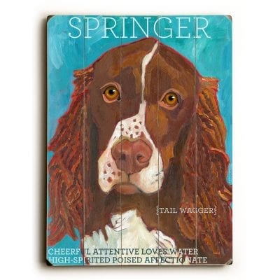 Springer Spaniel: Dog Signs of Dog Breeds. Dog Art Print on Wood. Gifts for Dog Lovers.