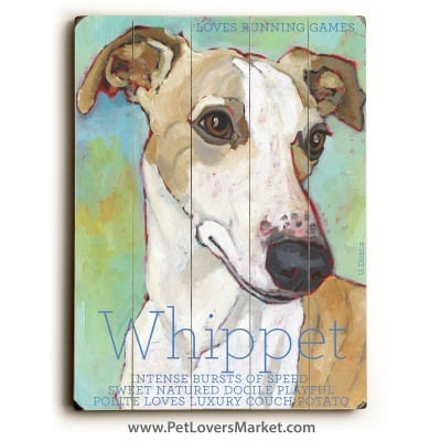 Whippet: Dog Print on Wood