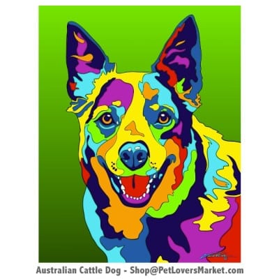 Dog Portraits: Australian Cattle Dog Art. Dog paintings and dog portraits by Michael Vistia. Australian Cattle Dog art is available in canvas prints and matted prints. Australian Cattle Dog dog breed.