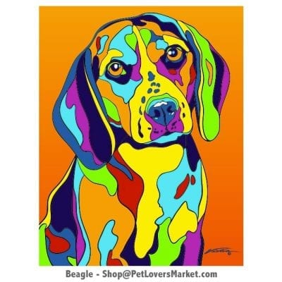 Dog Portraits: Beagle art. Dog paintings and dog portraits by Michael Vistia. Beagle art is available in canvas prints and matted prints. Beagle dog breed.
