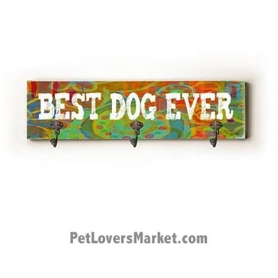 "Wall Hooks for Dog Lovers: ""Best Dog Ever"". Use as coat hooks, wall mounted coat rack, key holder, key rack, leash holder, gifts for dog lovers. Dog sign - long version."