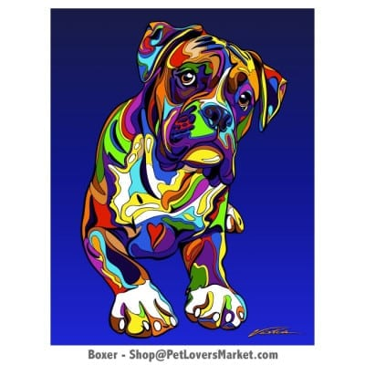 Dog Portraits: Boxer dog art. Dog paintings and dog portraits by Michael Vistia. Boxer dog art is available in canvas prints and matted prints. Boxer dog breed.