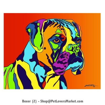 Dog Portraits: Boxer dog art and Boxer dog gifts. Dog paintings and dog portraits by Michael Vistia. Boxer dog art is available in canvas prints and matted prints. Boxer dog breed.