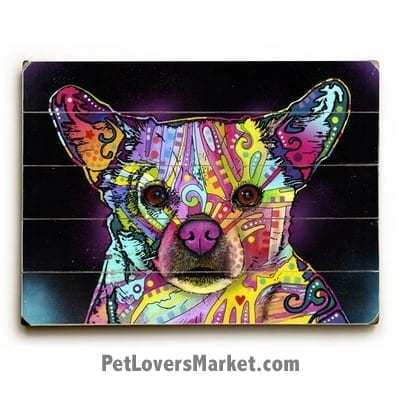Looking for Chihuahua pictures? Buy the Chihuahua / Cheemix by Dean Russo. Dog Print, Dog Sign, Dog Art, Dean Russo Art, Wooden Sign.
