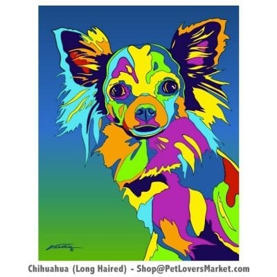 Dog Portraits: Chihuahua art and Cairn Terrier Gifts. Dog paintings and dog portraits by Michael Vistia. Chihuahua art is available in canvas prints and matted prints. Dog painting features the long haired Chihuahua dog breed.