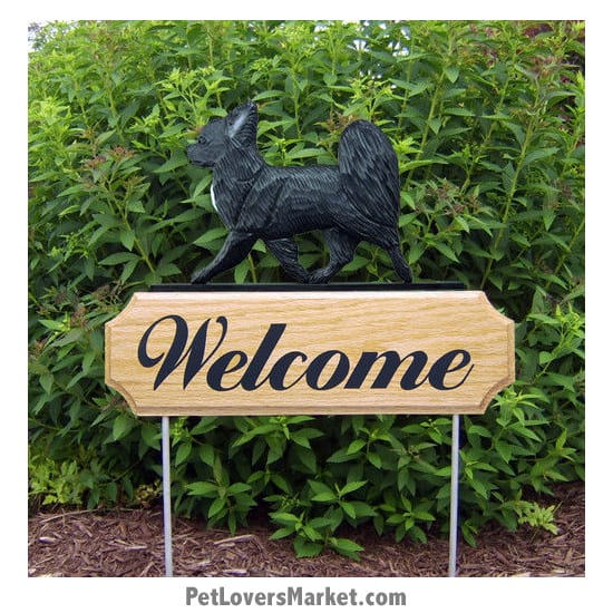 Welcome Sign with Chihuahua (Long Haired, Black). Welcome sign and dog sign for dog lovers. Welcome sign is perfect for home and garden decor, garden accents, outdoor accents, unique garden statues, garden statues online, best garden decor, garden stake decor, decorative garden stake, outdoor home accents, unique garden decor, outdoor home decor. Features the Chihuahua dog breed.