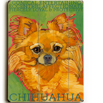 Long Haired Chihuahua - Dog signs with Dog Breeds. Gifts for Dog Lovers. Wooden sign.