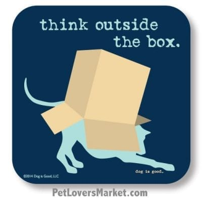 "Coasters: ""think outside the box"". Coasters with Funny Dog Pictures, Dog Quotes & Dog Art. Coasters are great gifts for Dog Lovers. Made in USA by Dog is Good®"
