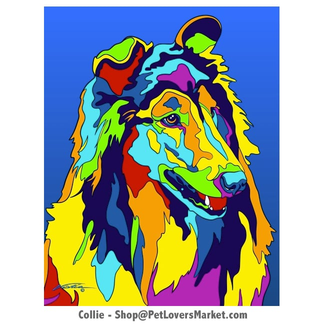 Collie Pictures. Dog portrait and dog painting by Michael Vistia. Canvas Prints and Matted Prints available. Dog Art. Portrait of the Collie dog breed.