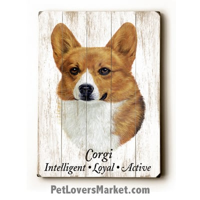 Corgi: Dog Picture, Dog Print, Dog Art. Wall Art and Wooden Signs with Dog Pictures and Dog Quotes. Features the Welsh Pembroke Corgi Dog Breed.