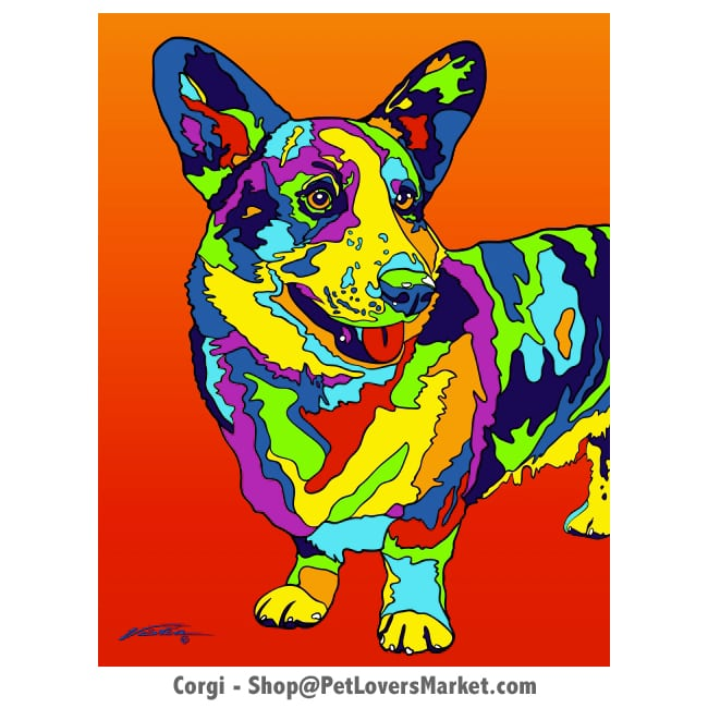 Corgi Pictures. Dog portrait and dog painting by Michael Vistia. Canvas Prints and Matted Prints available. Dog Art. Portrait of the Corgie dog breed.