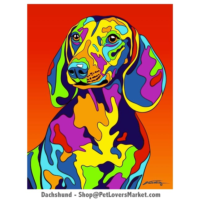 Dachshund Painting. Dog portraits and dog paintings by Michael Vistia. Canvas Prints and Matted Prints available. Dachshund pictures, Dachshund art, and Dachshund gifts.