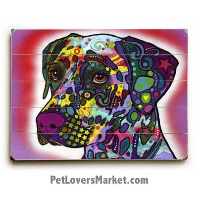 Looking for Dalmatian pictures? Buy the Dalmatian by Dean Russo. Dog Print, Dog Sign, Dog Art, Dean Russo Art, Wooden Sign.