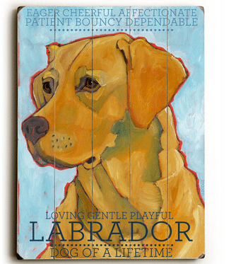 Labrador (yellow) - Dog signs with Dog Breeds. Gifts for Dog Lovers. Wooden sign.