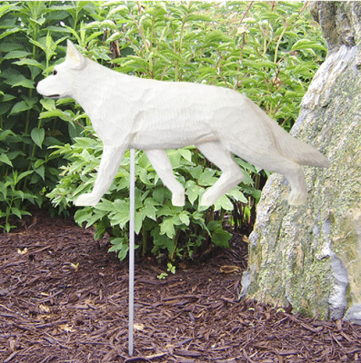 German Shepherd Statues (White). Dog Statues and Garden Statues