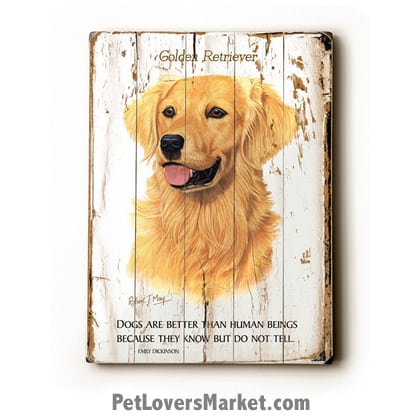 Golden Retriever Print Dogs Are Better Than Human Beings Because