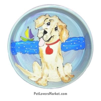 Golden Retriever Dog Bowl (Laguna Louie). Ceramic Dog Bowls; Designer Dog Bowls; Cute Dog Bowls. Dog Bowls are Made in USA. Hand-painted. Lead Free. Microwave Safe. Dishwasher Safe. Food Safe. Pet Safe. Design features Golden Retriever dog breed.