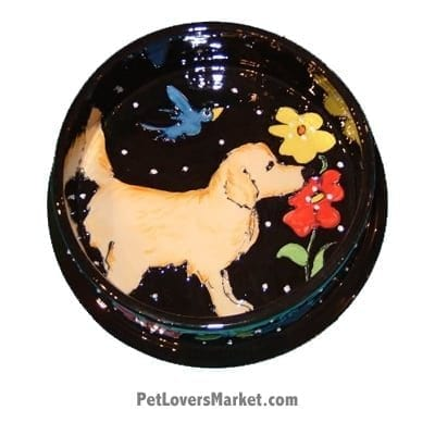 Golden Retriever Dog Bowl (Oro Floro). Ceramic Dog Bowls; Designer Dog Bowls; Cute Dog Bowls. Dog Bowls are Made in USA. Hand-painted. Lead Free. Microwave Safe. Dishwasher Safe. Food Safe. Pet Safe. Design features Golden Retriever dog breed.