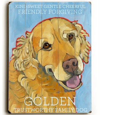 Golden Retriever - Dog signs with Dog Breeds. Gifts for Dog Lovers. Wooden sign.