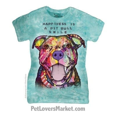 Dean Russo T-Shirts: Happiness is a Pitbull Smile (Women's)
