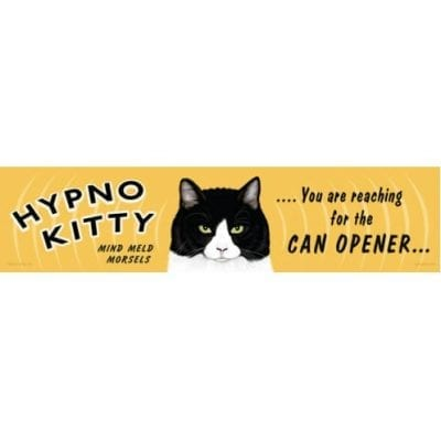 """Hypno Kitty: You are reaching for the can opener..."" - Funny Cat Art with Funny Cat Quotes. Gifts for Cat Lovers. Wooden sign."