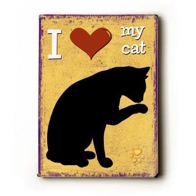 Cat Art / Cat Print: I Love My Cat (Heart)