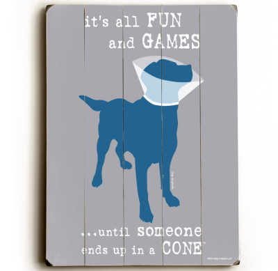"""It's all fun and games until someone ends up in a cone."" Funny dog signs with funny dog quotes. Gifts for dog lovers. High quality dog print on wood."