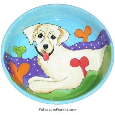 Yellow Labrador Dog Bowl (Marley Bone Jones). Ceramic Dog Bowls; Designer Dog Bowls; Cute Dog Bowls. Dog Bowls are Made in USA. Hand-painted. Lead Free. Microwave Safe. Dishwasher Safe. Food Safe. Pet Safe. Design features Labrador dog breed.