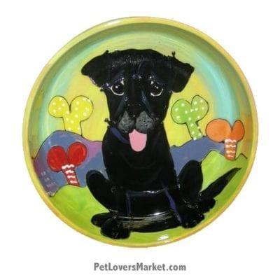 Black Labrador Dog Bowl (Quintin Coalboy). Ceramic Dog Bowls; Designer Dog Bowls; Cute Dog Bowls. Dog Bowls are Made in USA. Hand-painted. Lead Free. Microwave Safe. Dishwasher Safe. Food Safe. Pet Safe. Design features Black Labrador dog breed.