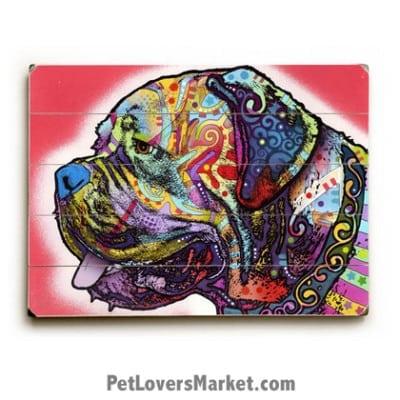 Mastiff by Dean Russo. Dog Print / Dog Sign / Dog Art Featuring Mastiff Dog Breed. Dean Russo Art. Wooden Sign.