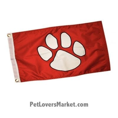 Paws Aboard Dog Paw Flag (Red). Dog Paw - Dog Flag for Dog Lovers. Perfect as Garden Flags, House Flags, Boat Flags, Flagpoles. Dog on board flag.