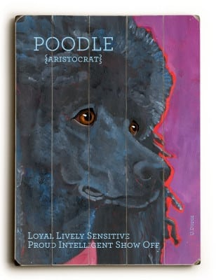 Poodle: Dog Signs of Dog Breeds. Dog Art Print on Wood. Gifts for Dog Lovers.