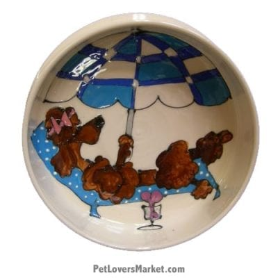 Poodle Dog Bowl (Kiki - Brown Poodle). Ceramic Dog Bowls; Designer Dog Bowls; Cute Dog Bowls. Dog Bowls are Made in USA. Hand-painted. Lead Free. Microwave Safe. Dishwasher Safe. Food Safe. Pet Safe. Design features Poodle dog breed.