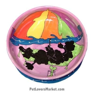 Poodle Dog Bowl (Ms Fidget - Black Poodle). Ceramic Dog Bowls; Designer Dog Bowls; Cute Dog Bowls. Dog Bowls are Made in USA. Hand-painted. Lead Free. Microwave Safe. Dishwasher Safe. Food Safe. Pet Safe. Design features Poodle dog breed. Dog Beach. Beach Dog.