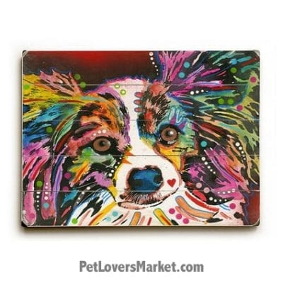 "Dog Art by Dean Russo: Papillon ""Whazzat"". Dog Print / Dog Painting by Dean Russo. Russo Art. Dog Art. Dog Pop Art. Dog Prints. Dog Sign. Wooden Sign. Print on Wood. Papillon dog breed."