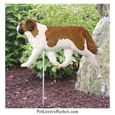 Saint Bernard Yard Sign / Garden Stake. Garden Accents and Gifts for Dog Lovers. Perfect for Home and Garden Decor. Part of our collection of yard signs and garden accents -- with dog breeds. Also use for outdoor accents, unique garden statues, garden statues online, best garden decor, garden stake decor, decorative garden stake, outdoor home accents, unique garden decor, outdoor home decor. Features St. Bernard dog breed.