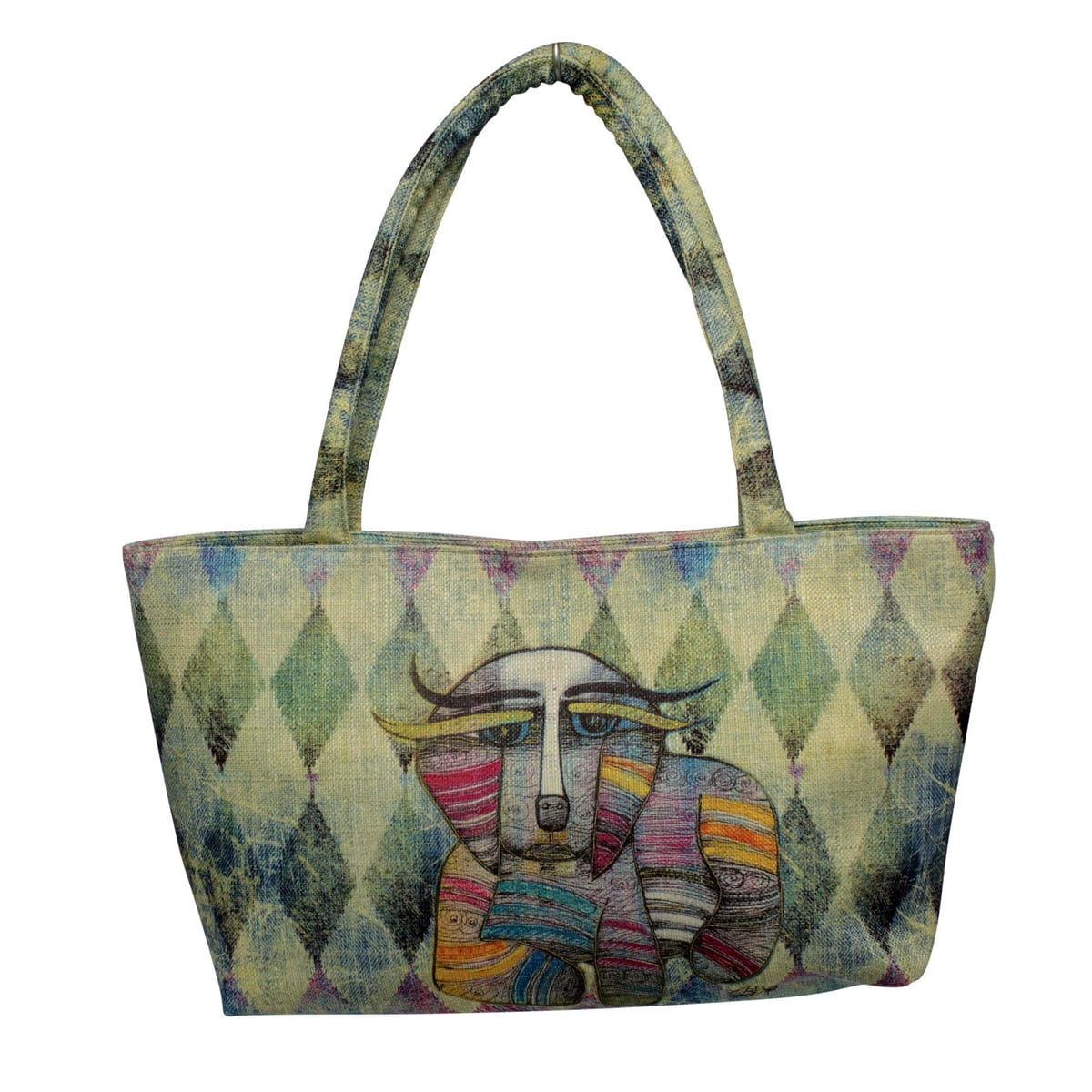 Totes for Dog Lovers - Square Handbag with Dog Art by Albena