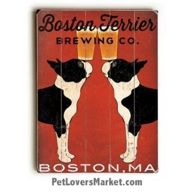 Boston Terrier Brewing - Vintage Ad & Wooden Sign