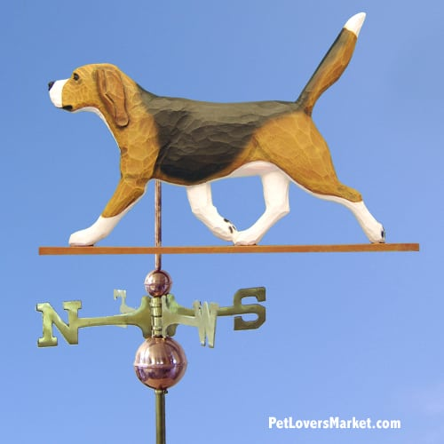 Weathervanes: Beagle Dog Weathervane for Roof and Garden Decor. Weathervane made in USA. Gifts for Dog Lovers.