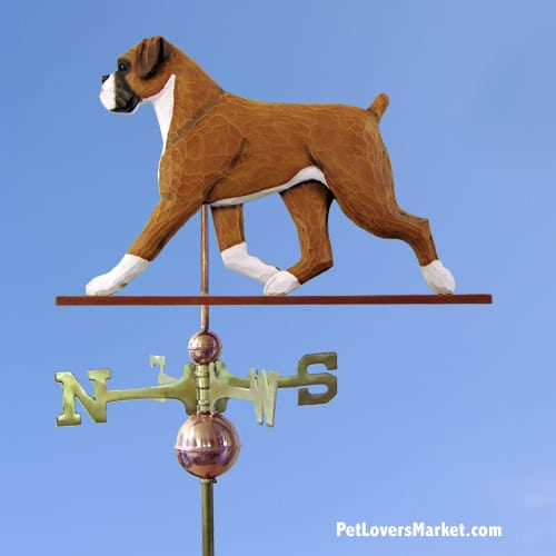 Weathervanes: Boxer Dog Weathervane for Roof and Garden Decor. Weathervane made in USA. Gifts for Dog Lovers.