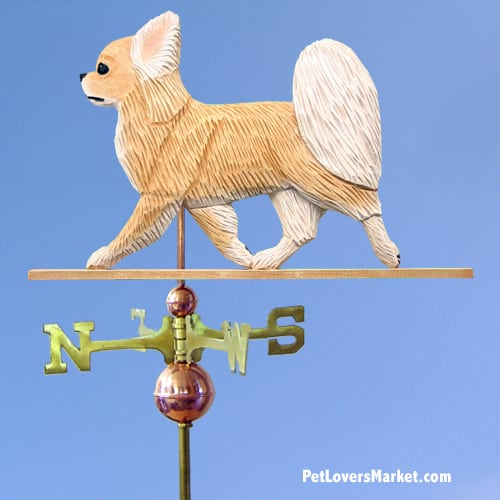 Weathervanes: Chihuahua (Long Haired) Dog Weathervane for Roof and Garden Decor. Weathervane made in USA. Gifts for Dog Lovers. (Fawn)