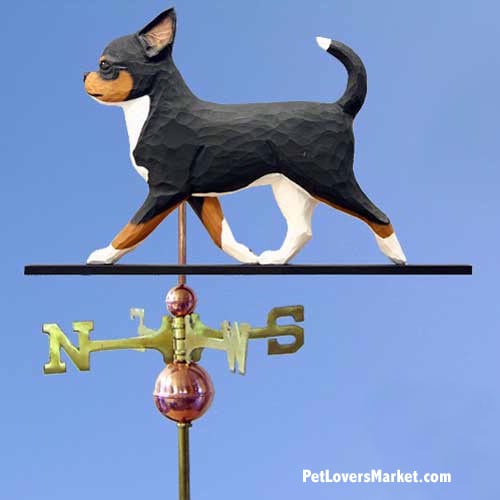 Weathervanes: Chihuahua Dog Weathervane for Roof and Garden Decor. Weathervane made in USA. Gifts for Dog Lovers. (Tricolor)